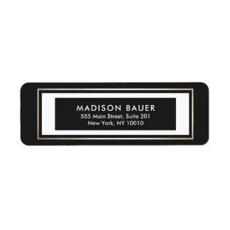 Modern Black White Gold Border Label