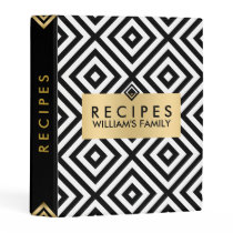 Modern Black White & Gold Geometric Pattern Mini Binder
