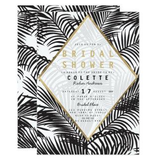 Modern black white gold palm tree bridal shower card