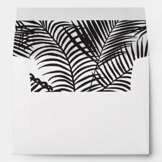 Modern black white gold palm trees wedding envelope