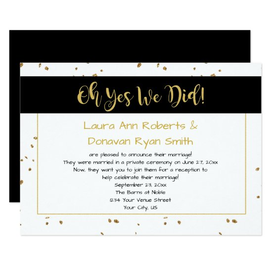 Modern Black White Gold Sparkles Reception Only Invitation