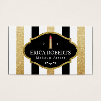 Modern Black White Gold Stripes Makeup Artist Business Card
