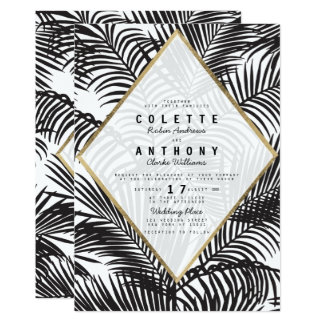 Modern black white gold tropical floral wedding card