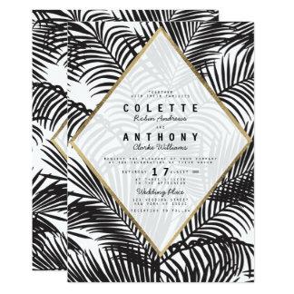 Marvelous Modern Black White Gold Tropical Floral Wedding Card