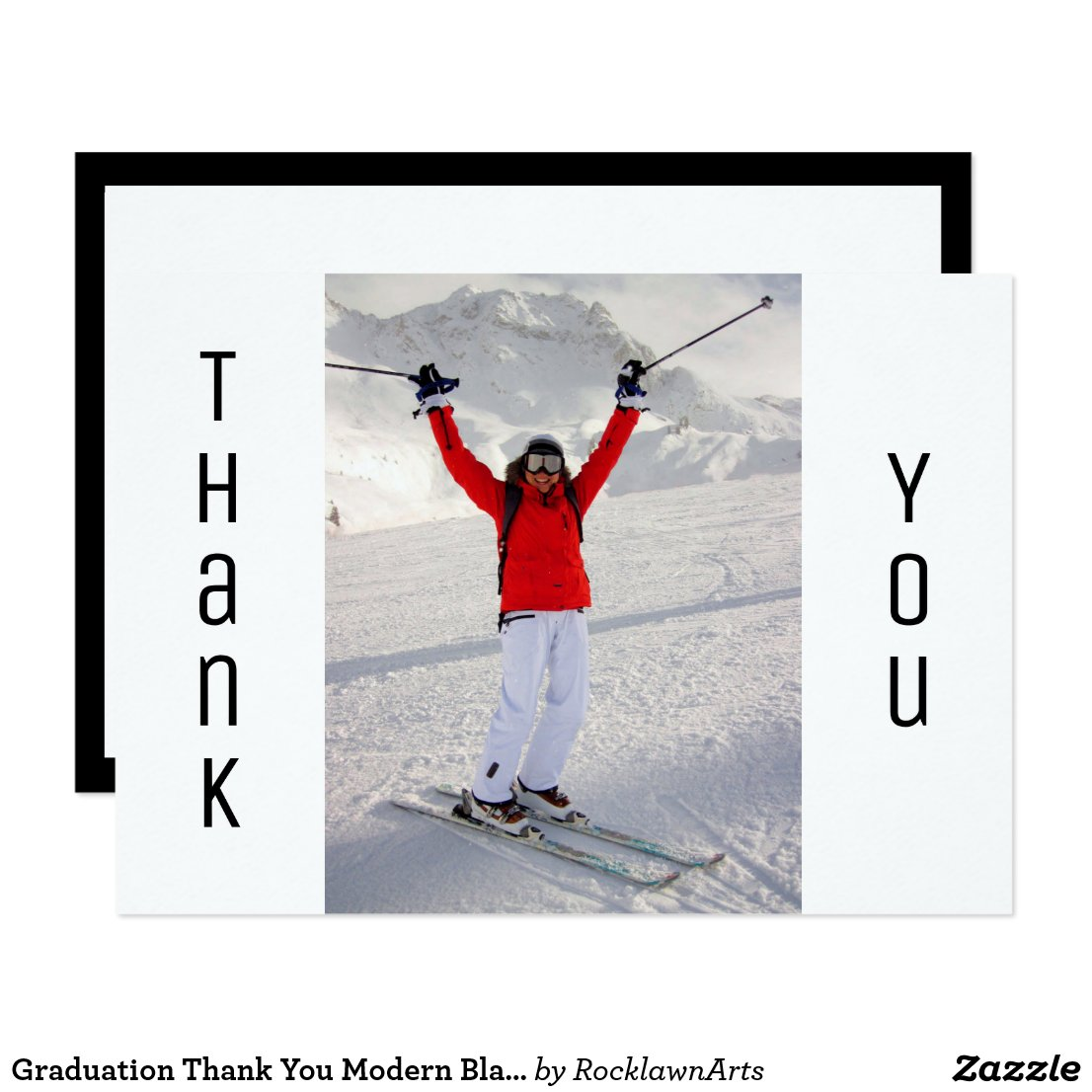 Modern Black/White Grad Photo Graduation Thank You Card