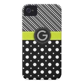 Modern black, white, green dot & stripes iPhone 4 case