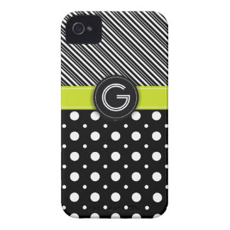 Modern black, white, green dot & stripes iPhone 4 cover