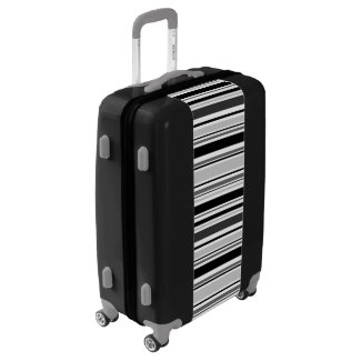 Modern Black, White, Grey Stripes Luggage