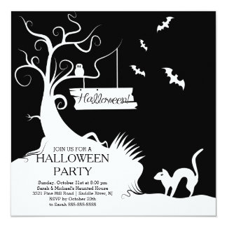 Modern Black White Halloween Party Invitation