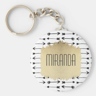Modern Black & White Hand Drawn Arrows Monogram Keychain