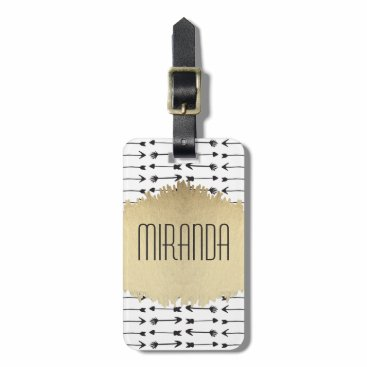 Aztec Themed Modern Black & White Hand Drawn Arrows Monogram Luggage Tag