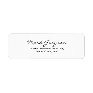 Modern Black & White Handwriting Plain Elegant Label