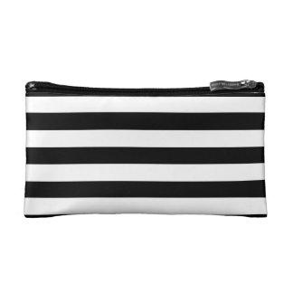 Modern Black & White Horizontal Striped Cosmetic Bag