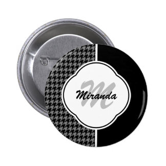 Modern Black White Houndstooth Monogram and Name 2 Inch Round Button