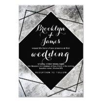 Modern Black White Marble Abstract Wedding Invitation