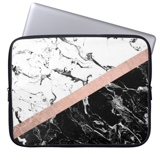 Modern Black White Marble Color Block Rose Gold Computer