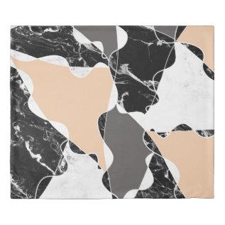 Modern Black White Marble Gray Peach Color Block Duvet Cover at Zazzle