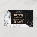 "Modern Black White Marble Refer a Friend Referral<br><div class=""desc"">Make a great impression with this &quot;Modern Black White Marble Refer a Friend Referral Card design&quot;. Create yours today! (1) For further customization, please click the &quot;customize further&quot; link and use our design tool to modify this template. (2) If you prefer thicker papers, you may consider to choose the Signature...</div>"