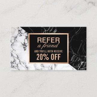 Modern Black White Marble Refer a Friend Referral