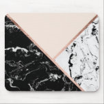 "Modern black white marble rose gold color block mouse pad<br><div class=""desc"">A modern,  stylish and elegant black marble,  white marble and blush pastel color block geometric triangles with faux rose gold stripes</div>"