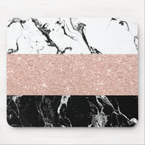 Modern black white marble rose gold color block mouse pad