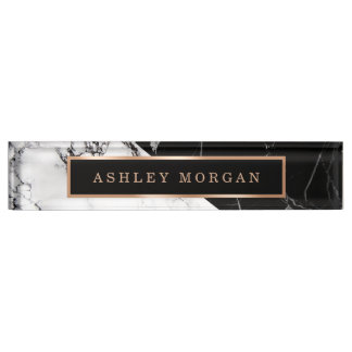 modern black white. contemporary black modern black white marble stone texture look nameplate on r