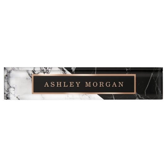 Modern Black White Marble Stone Texture Look Nameplate