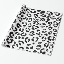 Modern black white marble stylish leopard pattern wrapping paper