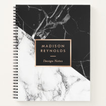 Modern Black White Marble Texture Designer Notes Notebook