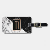 Modern Black White Marble Texture Stylish Monogram Bag Tag