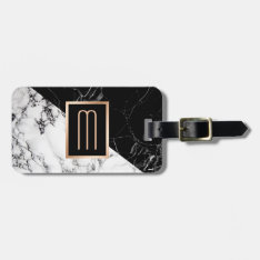 Modern Black White Marble Texture Stylish Monogram Bag Tag at Zazzle
