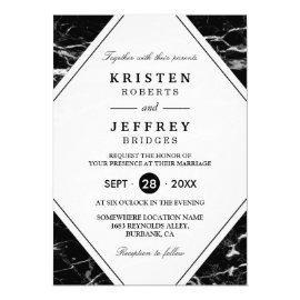 Modern Black White Marble Wedding Invitation