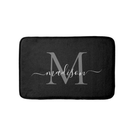 Modern Black White Monogram Script Elegant Girly Bath Mat