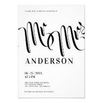 Modern black white Mr and Mrs calligraphy wedding Invitation