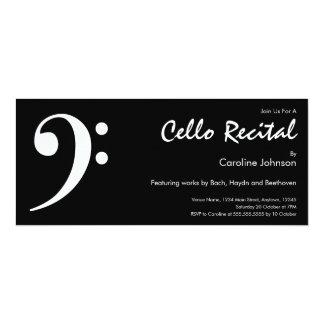 Modern Black White Music Cello Concert Recital Card