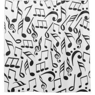 Modern Black U0026 White Music Notes Pattern Shower Curtain