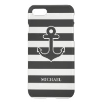Modern Black White Nautical Anchor Stripes Pattern iPhone 8/7 Case