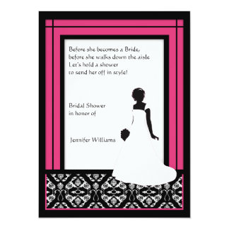 Modern Black, White & Pink Damask Bridal Shower Card