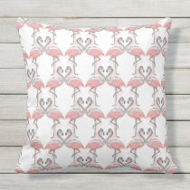 Modern Black White Pink Kissing Flamingos Pattern Throw Pillow