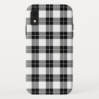 Modern Black White Plaid Pattern iPhone XR Case
