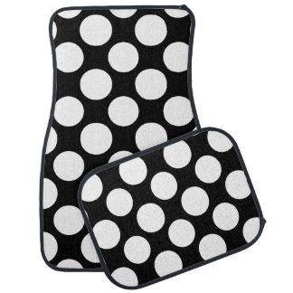 Modern Black White Polka Dots Pattern Car Mat