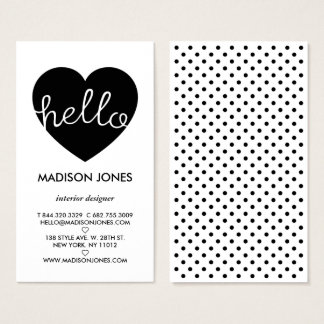 Modern black white polka dots pattern heart hello business card