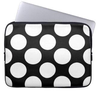 Modern Black White Polka Dots Pattern Laptop Sleeve