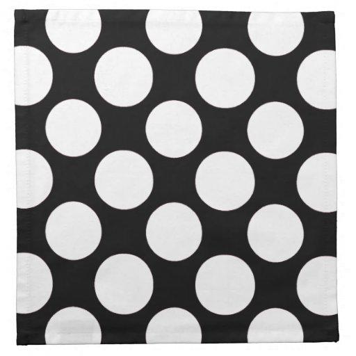 Modern Black White Polka Dots Pattern Cloth Napkins