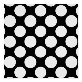 Modern Black White Polka Dots Pattern Poster