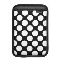Modern Black White Polka Dots Pattern Sleeve For iPad Mini