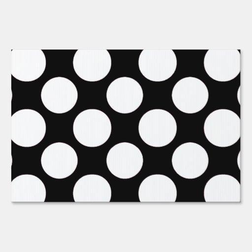 Modern Black White Polka Dots Pattern Yard Signs
