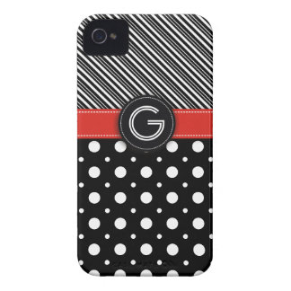 Modern black, white, red dot & stripes iPhone 4 case
