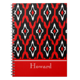 Modern black white red Ikat Tribal Pattern 1 Notebook
