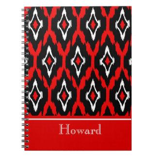 Modern black white red Ikat Tribal Pattern 1 Spiral Notebook